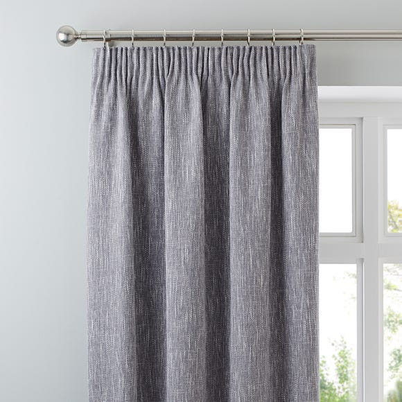 Boucle Grey Pencil Pleat Curtains Grey undefined