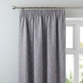 Boucle Grey Pencil Pleat Curtains