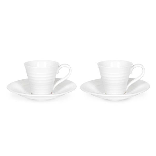 Sophie Conran for Portmeirion Set of 2 White Espresso Cups and Saucers White