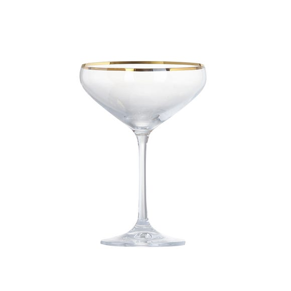 5A Fifth Avenue Pack of 4 Gold Rim Champagne Saucer Clear