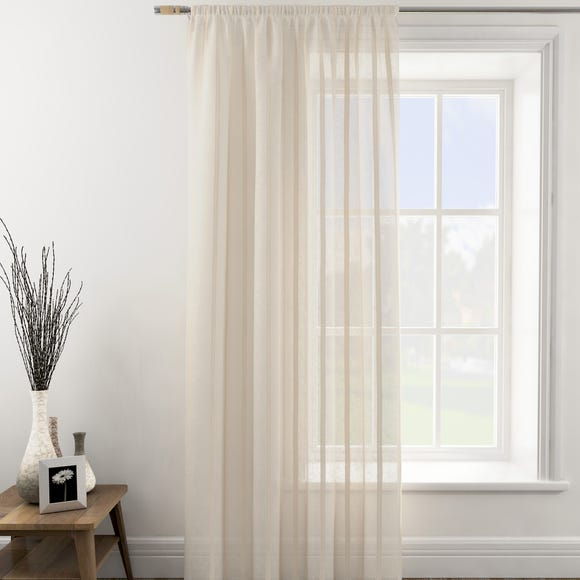 Boucle Stripe Natural Tape Top Single Voile Panel  undefined