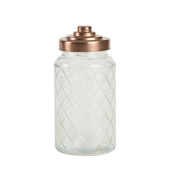 T&G Large Glass Jar with Copper Lid Clear
