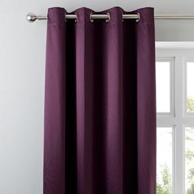 Matt Satin Plum Blackout Eyelet Curtains