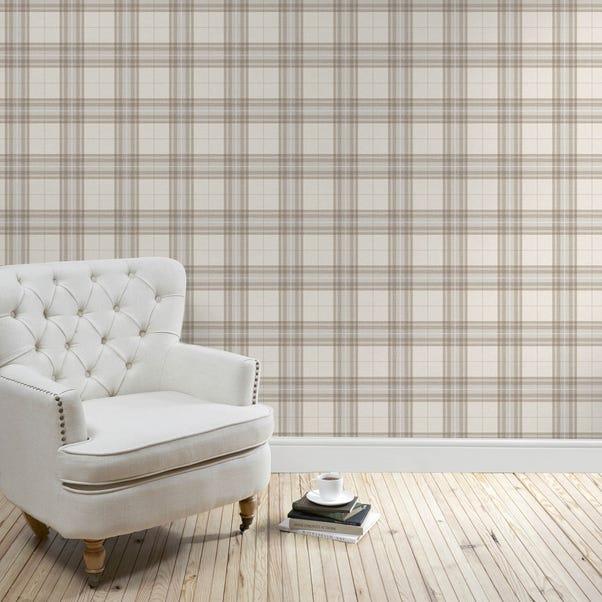 Natural Cabin Check Wallpaper Natural