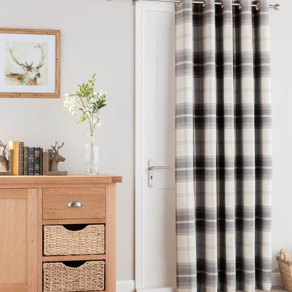 Highland Check Charcoal Eyelet Door Curtain  undefined