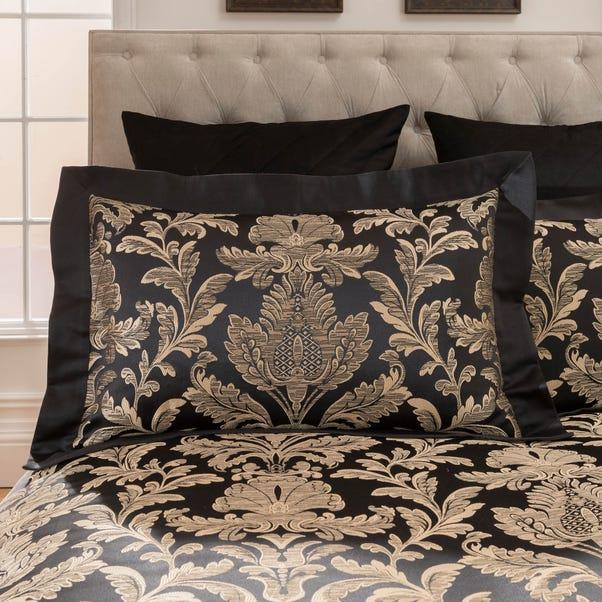 Dorma Blenheim Black Jacquard Oxford Pillowcase Pair Black