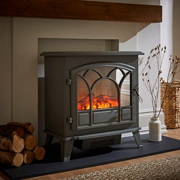 1850W Free-Standing Gunmetal Stove Effect Heater Grey