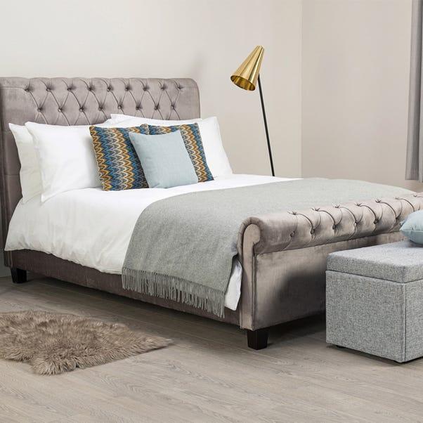 Orbit Silver Velvet Upholstered Bedstead  undefined
