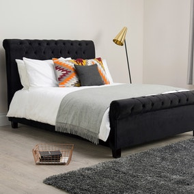 Orbit Black Velvet Upholstered Bedstead