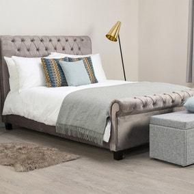 Orbit Silver Velvet Upholstered Bedstead