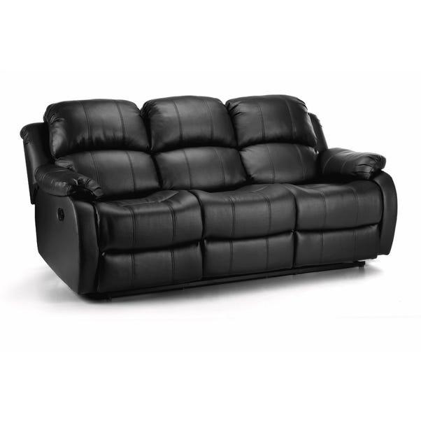 Anton Bonded Leather Reclining 3 Seater Sofa Black