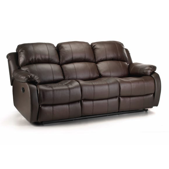 Anton Bonded Leather Reclining 3 Seater Sofa Brown