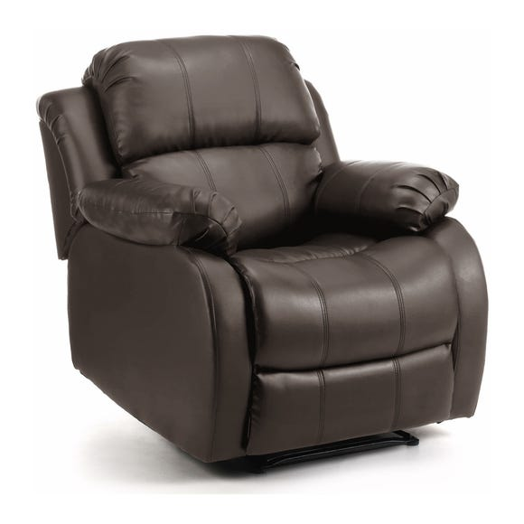 Anton Bonded Leather Reclining Leather Armchair Brown