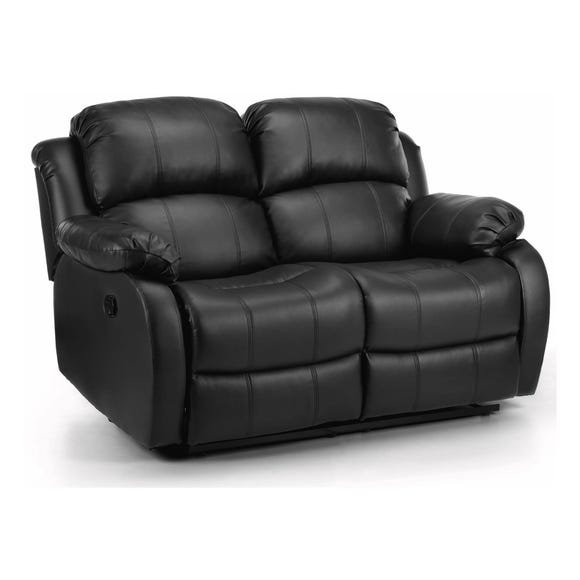 Anton Bonded Leather Reclining 2 Seater Sofa Black