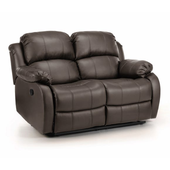 Anton Bonded Leather Reclining 2 Seater Sofa Brown