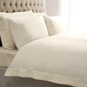 5A Fifth Avenue Egyptian Cotton Sateen 300 Thread Count Cream Oxford Duvet Cover