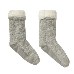 Teddy Bear Grey Slipper Socks