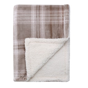 Checked Reverse Sherpa Fleece Natural Throw