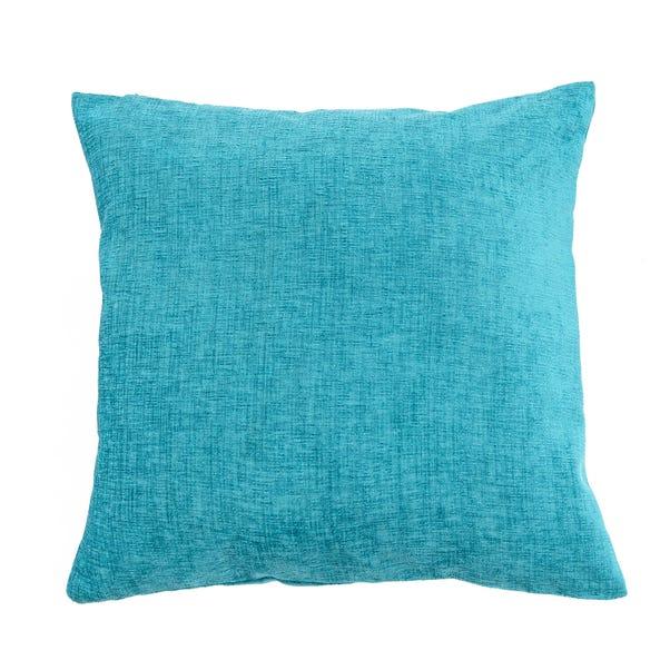 Large Chenille Turquoise Cushion Turquoise