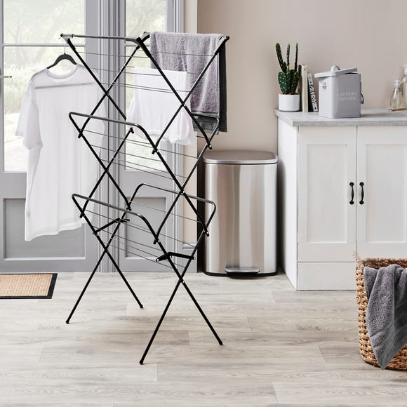 Black 3 Tier Wide Airer Black