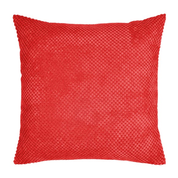 Chenille Spot Cushion Red undefined