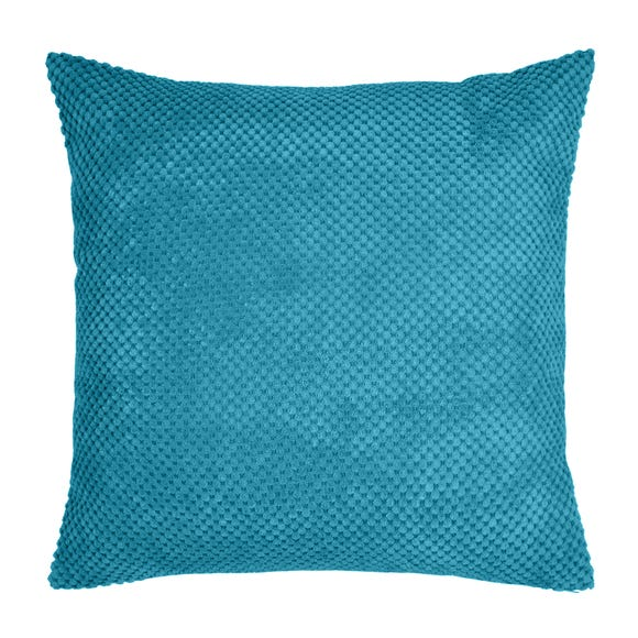 Large Chenille Spot Teal Cushion Teal (Blue)