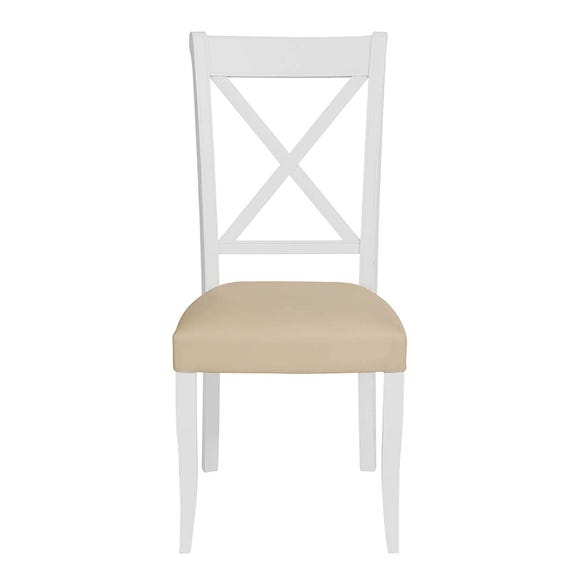 Eaton Two Tone Pair of Cross Back Dining Chairs Ivory