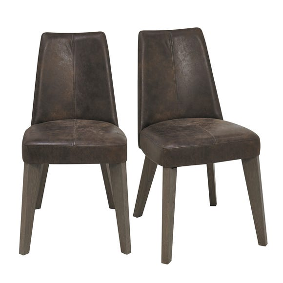 Cadell Set of 2 Dining Chairs Brown Distressed PU
