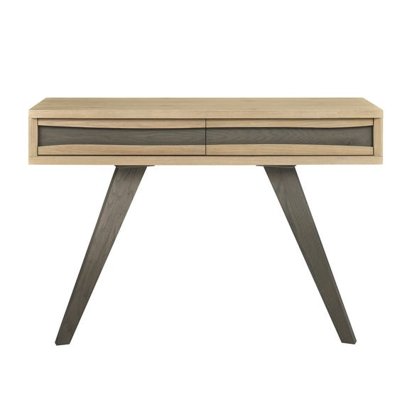 Cadell Aged Oak 2 Drawer Console Table Brown