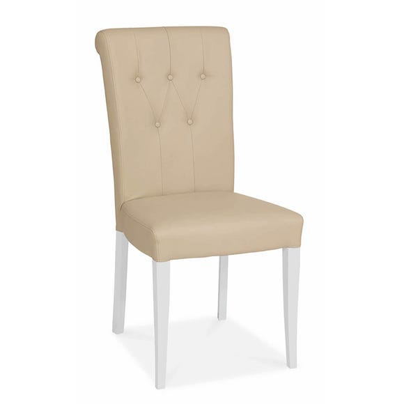 Eaton Set of 2 Dining Chairs Ivory PU Leather Ivory