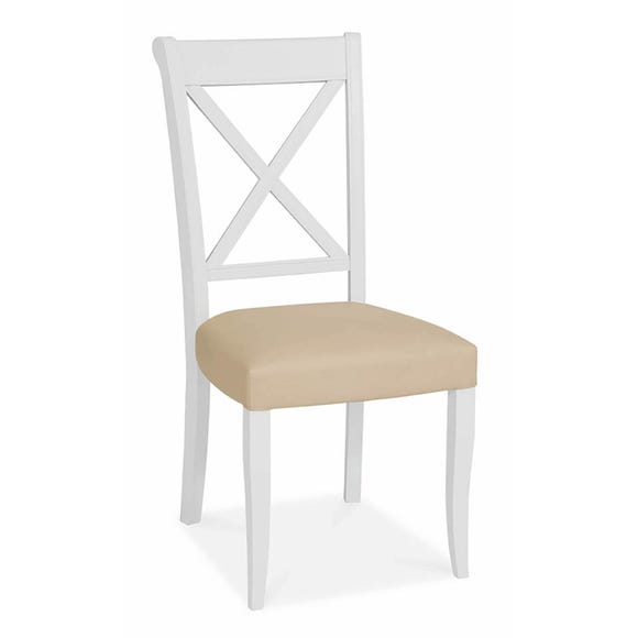 Eaton Set of 2 Cross Back Dining Chairs Ivory PU Leather