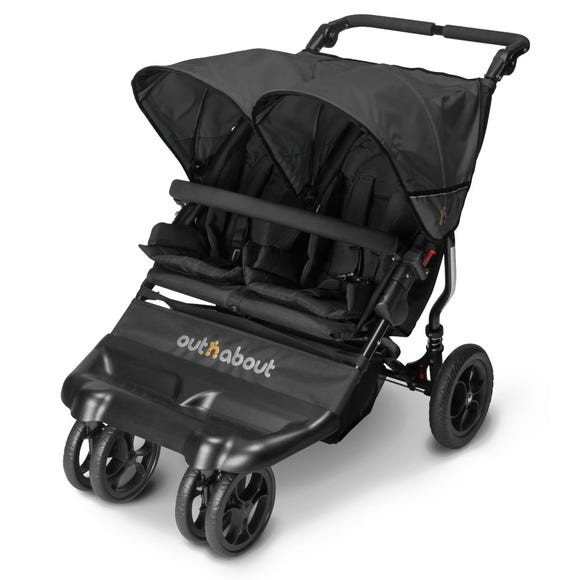 Out n About Little Nipper Double Jet Black Pushchair Black