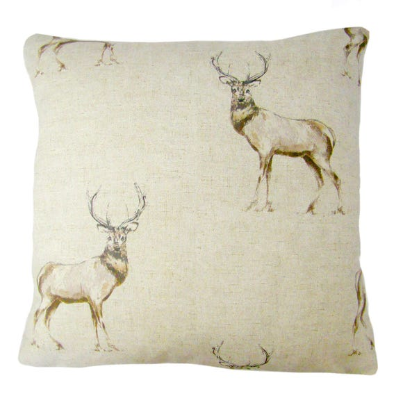Stag Print Cushion Cover Natural