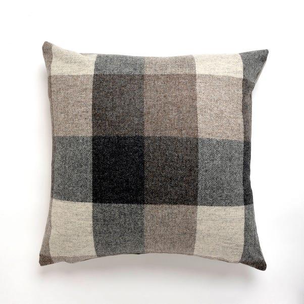 Large Heritage Check Grey Cushion Grey