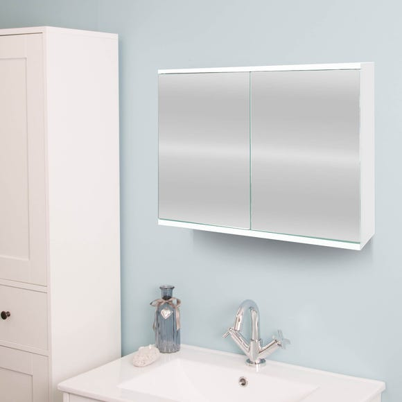 Simplicity Mirrored Double Cabinet White