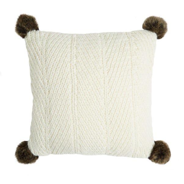 Chunky Knit Cream Faux Fur Pom Pom Cushion Cream