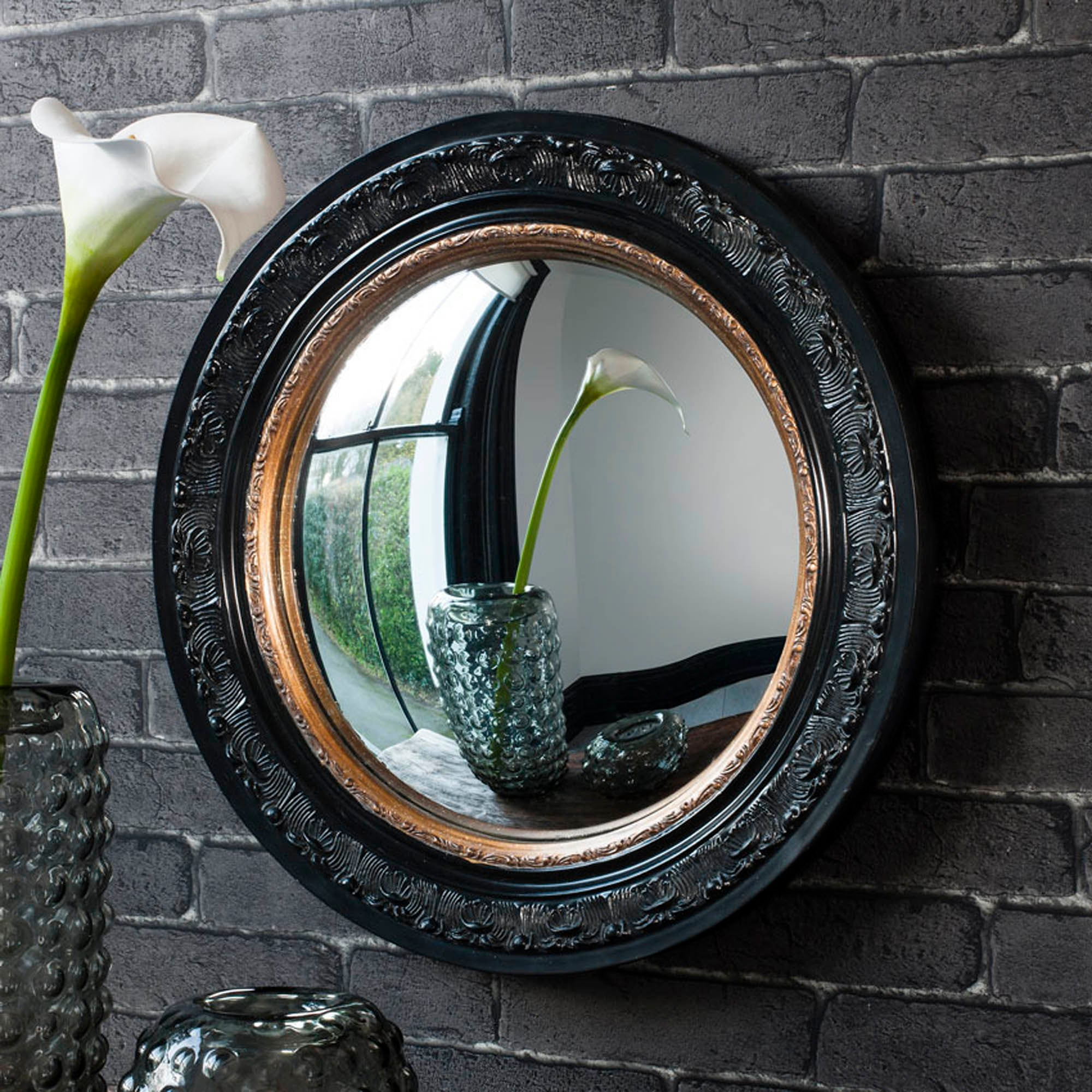 Click to view product details and reviews for Langford Black 51cm Wall Mirror Gold Black.