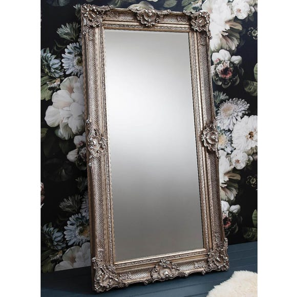 Stretton Antiqued Silver 177x88cm Leaner Mirror Silver