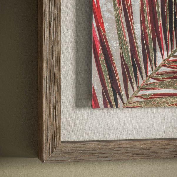 Red Palm Leaves Framed Print Red