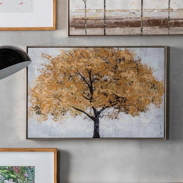 Midas Tree Framed Canvas Print Multi Coloured