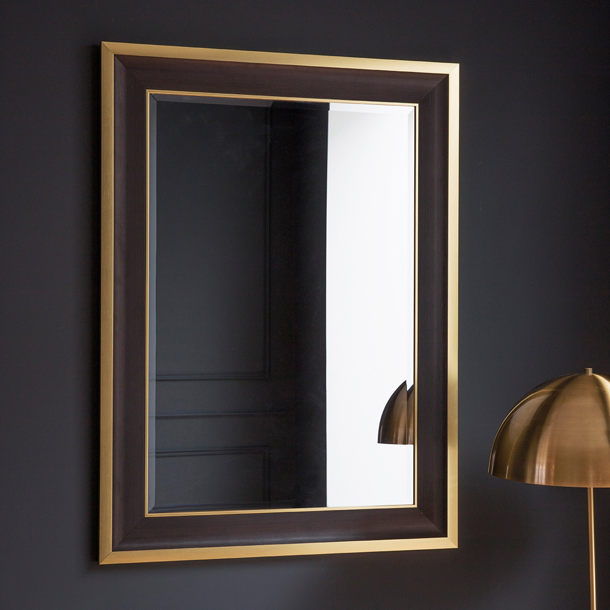 Click to view product details and reviews for Edmonton Black And Gold Wall Mirror Black.