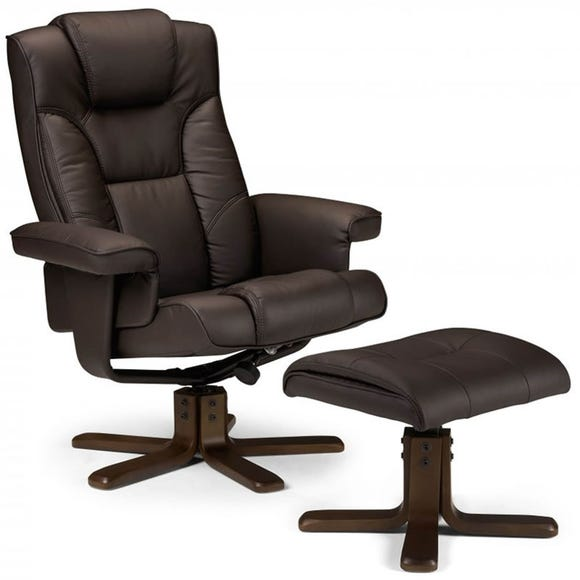Malmo Swivel Recliner Armchair and Footstool - Brown