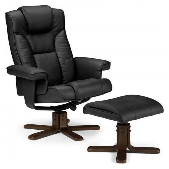 Malmo Swivel Recliner Armchair and Footstool - Black