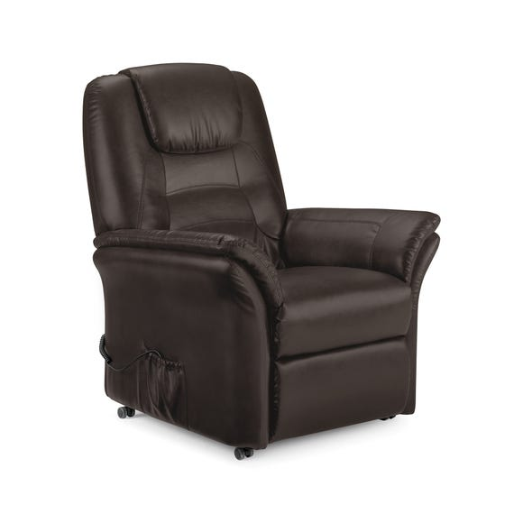 Riva Riser Recliner Leather Armchair - Brown Brown