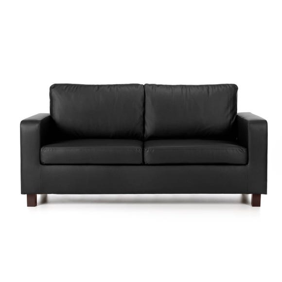 Max 3 Seater Faux Leather Sofa Black