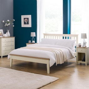 Salerno Two Tone Ivory Wooden Bed Frame