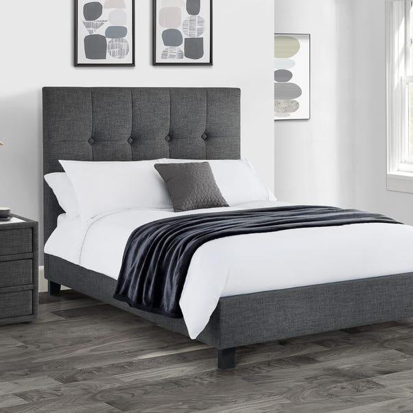 Sorrento Slate Grey Upholstered Bed Frame Grey undefined