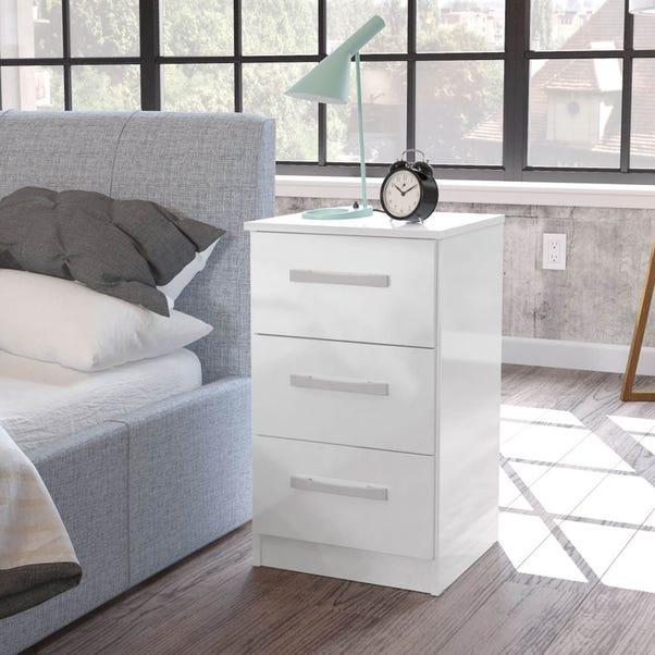 Lynx White 3 Drawer Bedside Table