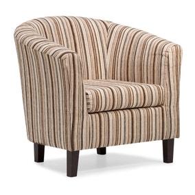 Dorset Stripe Tub Chair - Chocolate