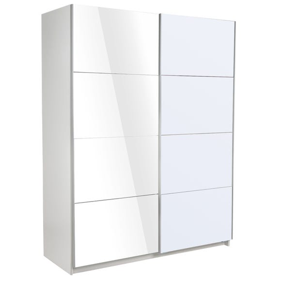 Ellum White High Gloss Sliding Wardrobe